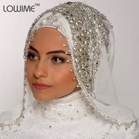 arabic head dress - Hot Design Handmade Rhinestone arabic dress wedding Muslim Bridal Veils Abaya Cap Head Piece Arabia
