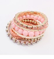 Wholesale 2015 women s Charming Multilayer Pearl Crystal plastic Beads Bangle Cuff Bracelet set