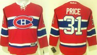 Expédition Drop Ship Montreal Canadiens 31 Jeunesse Carey Price Hockey sur glace Stitched Enfants Jersey Rouge Noir gratuit