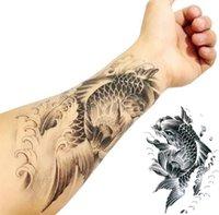 Wholesale Fish Tattoo Stickers Arm Tattoo Waterproof Temporary Tattoo Stickers Men Body Decoration Accessories Stickers