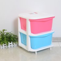 Wholesale Gang fight two drawer storage cabinet plastic children s toys baby clothes locker thicker finishing cabinet
