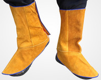Wholesale 1 pairs Leather weld welder welding foot wear protective cover anti spark heat