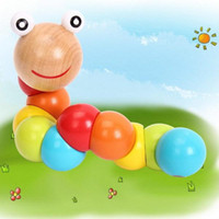 Wholesale Lovely Multicolour Magical Twisting Insect Child Toys Wooden Puzzle Baby Train Math Toys Baby Fingers Flexibility TY158