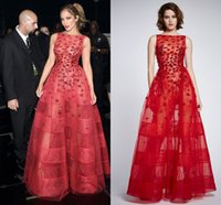 american idol shirts - 2016 Zuhair Murad Jennifer Lopez Wear Long Red Flared Dress With Embroidered Kisses On lace And Tulle On American Idol Grand Finals Show
