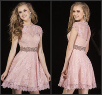 baby doll formal dresses - 2015 Light Pink Short Sleeves Lace Homecoming Dresses Baby Doll Jewel Neckline Dazzling Beads Party Gowns Formal Cocktail Dress