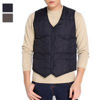 asia single - Fall Brand Men s Winter Warm Down Vest Casual Middle Aged Waistcoat V Neck Single Breasted Sleeveless Jacket Asia Tag Size L XL