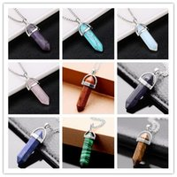 amethyst cluster necklace - Bullet Shape Natural Stone Real Amethyst Necklaces Turquoise Crystal Stone Quartz Pendants Necklaces For Female