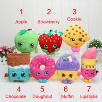 apples stores - pc Play house store toys combition Cookie Strawberry Kiss Apple Mini Muffin doughnut lipsticks Stuffed shopping Plush doll Toys