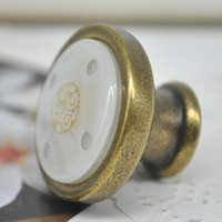 antique crystal door knobs - 2015 Ceramic Rural style Crystal Ball Door Handles Antique Copper Handle Cabinet Cupboard Handles Drawer Pull Knobs PJJ1043W