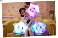 Wholesale 10Pcs Smile Star Heart Footprints Style LED Light Flash Plush Cushion Stuffed Toys Hand Rests Luminous Star Cusion Pillow Creative Gifts
