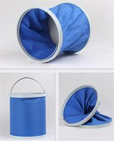 Wholesale Blue Waterproof Folding Car Buckets Universal Lightweight L Volume Car Buckets for Traveling or Camping Oxford Material Sale