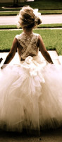 Cheap Cute lace Flower Girl Dresses Wedding Gowns A Line Sexy Backless Sheer Tulle communion dresses Made in China Ball Gowns for little Girls