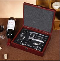 Wholesale Wine Bottle Opener Piece Set Rabbit Corkscrew in Handsome Red Wood Box w Stopper Foil Cutter Wine Quick Aerator