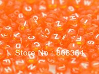 Wholesale Random Mixed Orange red Alphabet Letter Acrylic Spacer Beads mm Dia W02542 X