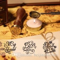 Wholesale DIY Wood Metal Sealing Wax Stamps Vintage Retro Romantic Love Thank You Miss you Good Luck For you Seal Stamp