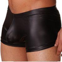 New 1 Pcs Hommes Homme Faux cuir Sexy Silky Boxers Shorts Bulge Amélioration de Mens Underwear haute qualité vente chaude FG1511