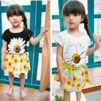 black sunflower - 2015 girls sunflower dress suit kids girl big flower printing shirt short skirt set suits white black clothing J052103