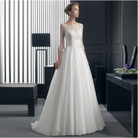 Cheap Top Sale Romantic Lace Wedding Dress Excellent Workmanship Full Sleeves Chiffon Waist Flowers Bridal Gown Luxury Wedding Dress