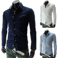 Wholesale men fashion slim fit dress shirts long sleeve shirts colors M L XL XXL BBK01