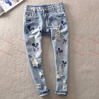 Wholesale Brand jeans Vintage Girls Jeans woman jeans for women Pants Loose Ripped Carton Mickey Mouse Jeans with Hole Women