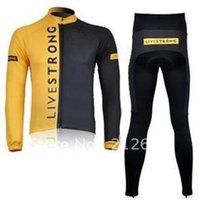 Wholesale Brandnew Livestrong team black yellow Long Sleeve Cycling Jerseys and Pants Set Bicycle clothing Cycling Wear Cycling Bike suit