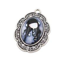 antique glass wear - New Worn Earphone Girl Ellipse Charms Antique Silver Flower Rattan Pendant Glass Paster Charms Pendant C10231