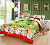 Wholesale orange green Fruit Ninja prints cotton full queen girl s bedding sets with quilt duvet covers sets pc for comforter sets