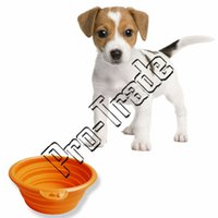 plastic dog bowl - New Folding Collapsible Bowl Travel Feeding Bowl for Dogs Foldable Camping Bowl Green Orange Red Yellow Blue Pink