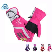 Wholesale AONIJIE Women Windproof waterproof Warm Cycling Ski Snow Snowmobile Motorcycle snowboard Skiing Gloves Winter Outdoor Sports