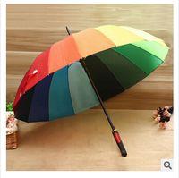 Wholesale Rainbow Umbrella High Quality K Golf Umbrella Automatic Long handle Umbrella Sunny Rainy Pongee Rainbow Adult Color Umbrella m0722