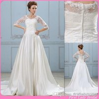 Cheap A-Line Half Sleeve Wedding Gowns Best Reference Images V-Neck Civil Wedding Dresses