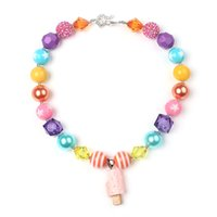 gumball beads - New Listing Spring Chunky Bubblegum Necklace DIY Gumball Beads Ice cream Pendant Kids Beaded Necklace Accessories