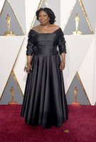 Wholesale 1 Sleeves Oscar Whoopi Goldberg Celebrity Red Carpet Dresses Floor Length Sexy Black Sheath Long Formal Evening Dress