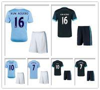 army uniforms - 2016 KUN AGUERO Jersey De Bruyne Green STERLING Camisetas Y Top Blue Survetement Football Shirt Soccer Kit Uniform