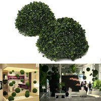 ball topiary - 2015 Hot Selling Plastic Topiary cm Leaf Effect Ball boxwood grass Ball indoor outdoor Hanging decoration