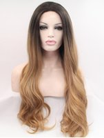 Wholesale hot natural hair wigs black ombre golden brown lace front back weaving hair wigs