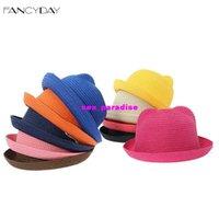 Cheap TOP- 2016 Fashion Casual Summer Children Straw Hat for Kids Cat Ear Beach Sun Hats Caps Visor Caps Free Shipping