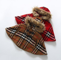 Wholesale HOT selling Fashion children red khaki raccoon collars grid pile thickening mantle Cape coat