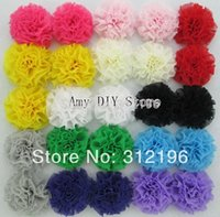 Wholesale EMS Fashion Mini Girl Hair Flowers Kids Hair Accessories Chiffon Shabby Chic Flowers Fabric Flowers