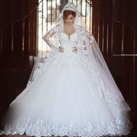 Wholesale Long Sleeve Lace Ball Gown V Neck Wedding Dress Vestido De Noivas Elegant Bridal Gowns Custom Made