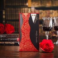 vogue wedding dress - 2016 Chic Blank Inner Sheet Laser Cut Wedding Invitation Cards Paper Red And Black Figure Flat Card Supplies Bride Bridegroom Dressed Vogue