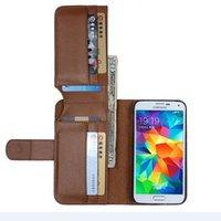 S5 Business Man Wallet pagina della foto del basamento della cassa del cuoio Retrostyle dell'unità di elaborazione per il sacchetto della galassia di Samsung i9600 S5 copertura Con 6 supporti di carta