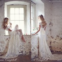 maternity wedding dresses - Anna Campbell Backless Lace Garden Wedding Dresses Pregnant V Neck Cap Sleeves Sweep Train Spring Beach Maternity Gowns EA0104