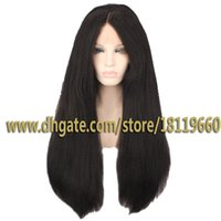 Wholesale Synthetic Lace Front Wig Yaki Straight Jet Black Heat Friendly Hair Lace Wigs