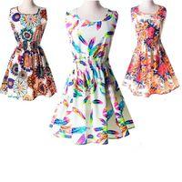 printed chiffon - 2015 Summer Dress Ladies Scoop Neck Sleeveless Floral Print Ladies Sundress Casual Chiffon Dresses Plus Size Women Clothing