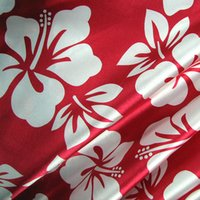 beach hibiscus - Amorous feelings of hibiscus patterns emulation silk satin material cheongsam pajamas beach blouse garment fabric SS