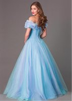 Wholesale 2015 Hot Sale Lovely Romantic Blue Off The Shoulder Tulle Ball Gown Princess Cinderella Dress Party Dress