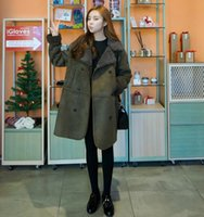 Wholesale Fashion Ladies Army Green Lamb Wool Coat Overcoat Women Winter Jacket Plus Size Suede Outerwear WJ343