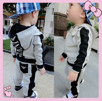 Spring / Autumn boys and girls clothing - 2015 New Spring and autumn children set baby boys and baby girls clothing sets boy Zipper coat pant suit kids clothes