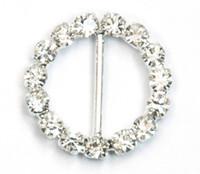 rhinestone buckles - 2015 new Round Crystal Clear Silver Plated Rhinestone Ribbon Buckle Wedding Supplies mm